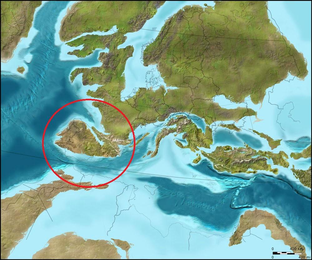 Distribución paleogeográfica de Europa a principios del Eoceno (50 m.a.)